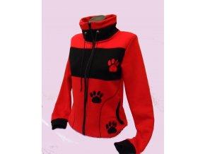 Černo červená mikina,tlapka
