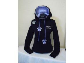 Dámská mikina s reflexními a světle modrými tlapkami + výšivka na přání.