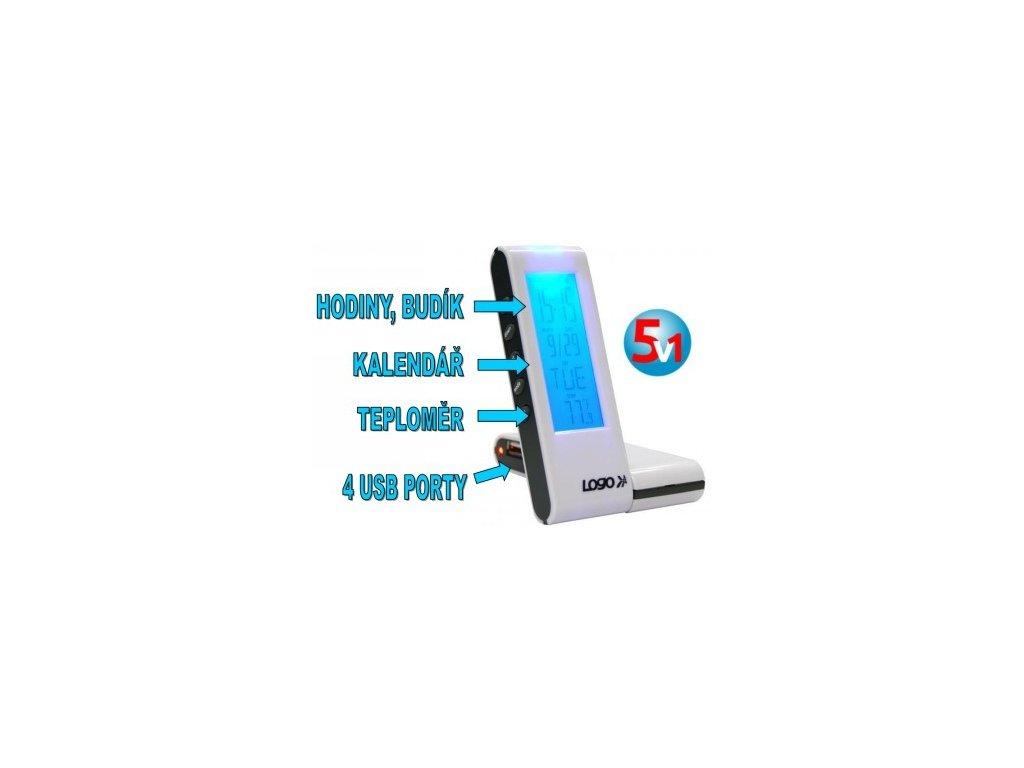 ROZBOČOVAČ USB (2,0) HUB 4- PORT, PODSVÍCENÝ HODINY