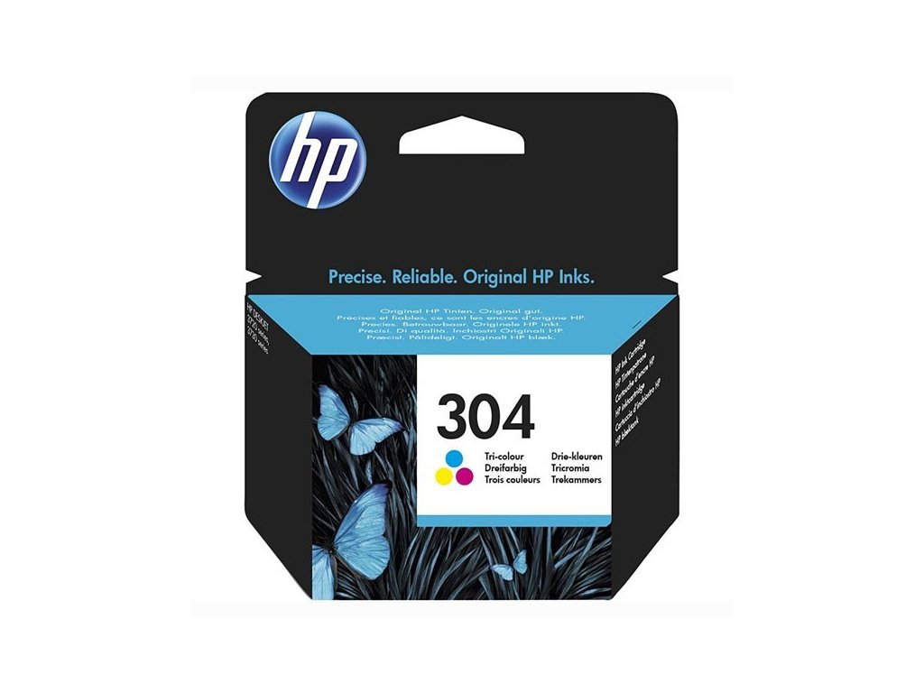 HP originální ink N9K05AE#301, HP 304, Tri-color, blistr, 100str., HP DeskJet 2620,2630,2632,2633,37