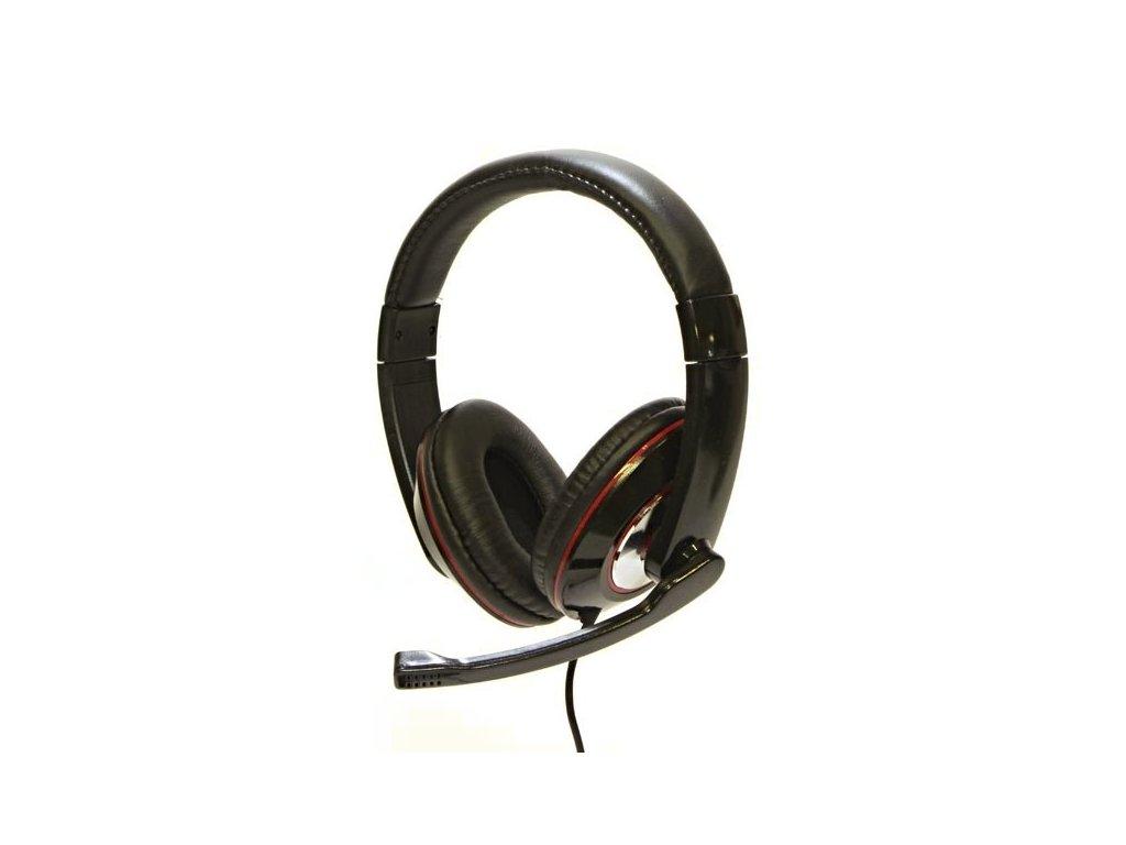 Logo  HL-01, sluchátka s mikrofonem, ovládání hlasitosti, černá, USB