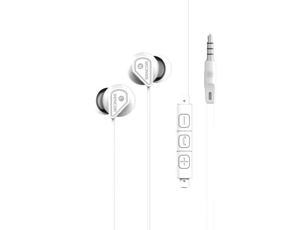 SENCOR SEP 172 VCM WHITE Sluchátka do uší s mikrofonem a regulací hlasitosti