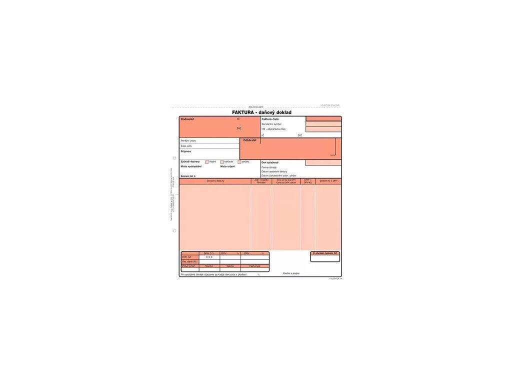 Faktura - daňový doklad sampropisovací  21 x 20 cm  100 listů