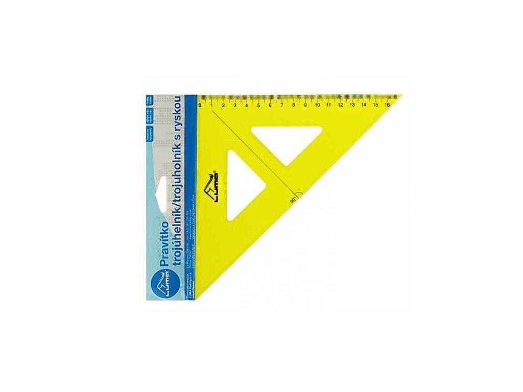 Pravítko trojúhelník s ryskou, žluté
