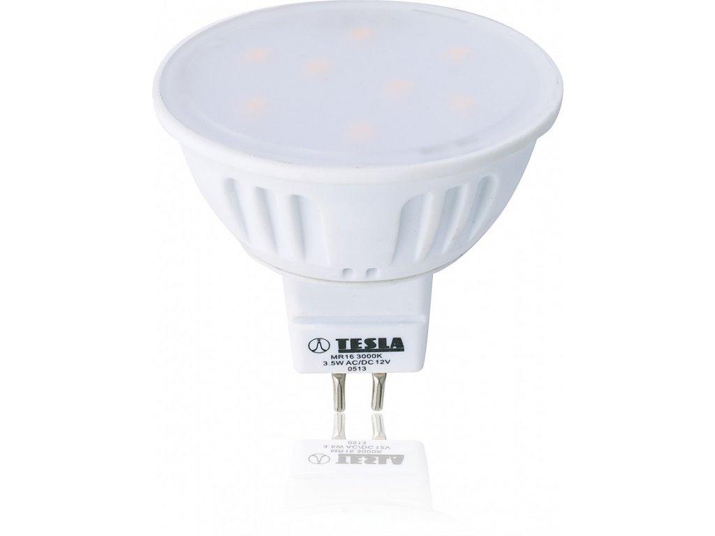 Tesla LED žárovka GU5,3 MR16, 3,5W, 12V, 230lm, 15 000h, 3000K teplá bílá, 100°