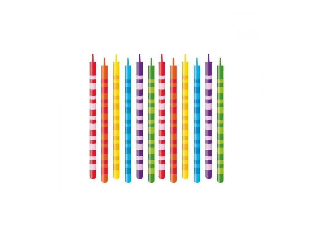 Dortové svíčky DELÍCIA KIDS 10 cm, 12 ks, barevný mix
