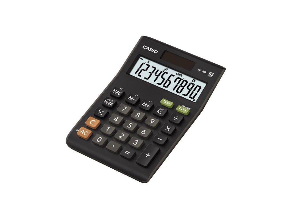 Casio Kalkulačka MS 10 B S, černá, stolní s převodem měn