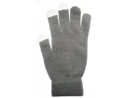 Rukavice na dotykový displej šedé dámské