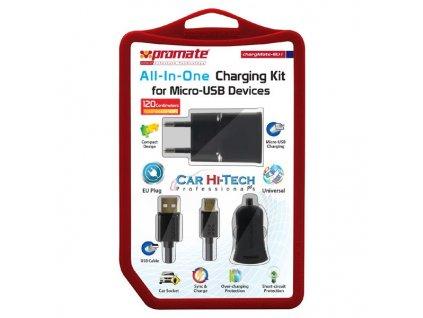 Promate, Síťový adaptér + Autonabíječka, chargeMate-EU1, 230V/12-24V, 5V, 1000mA, USB porty, microUS
