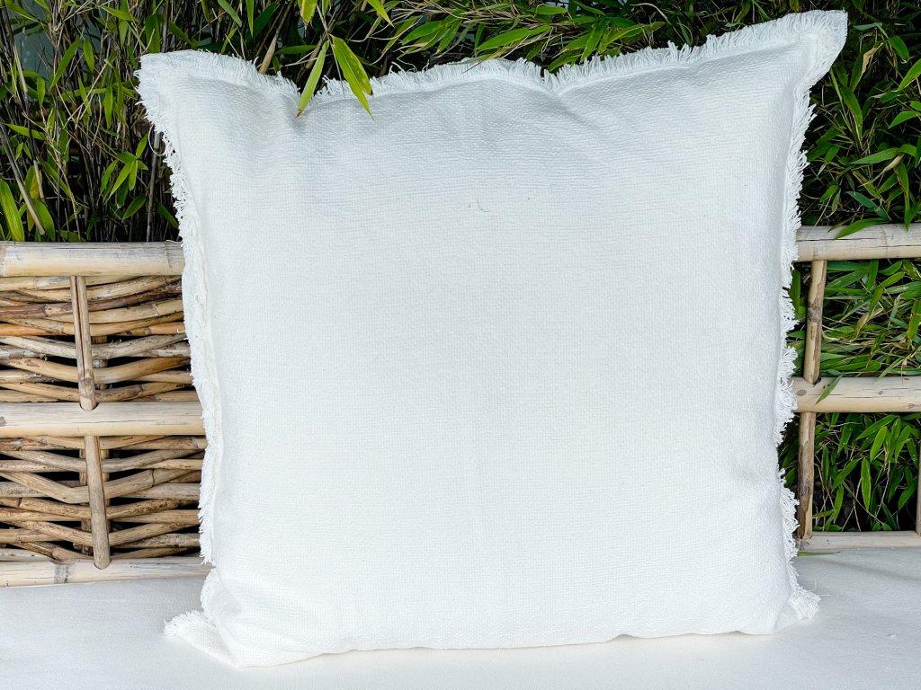 polštář tkaný s otřepeným okrajem/ bílý