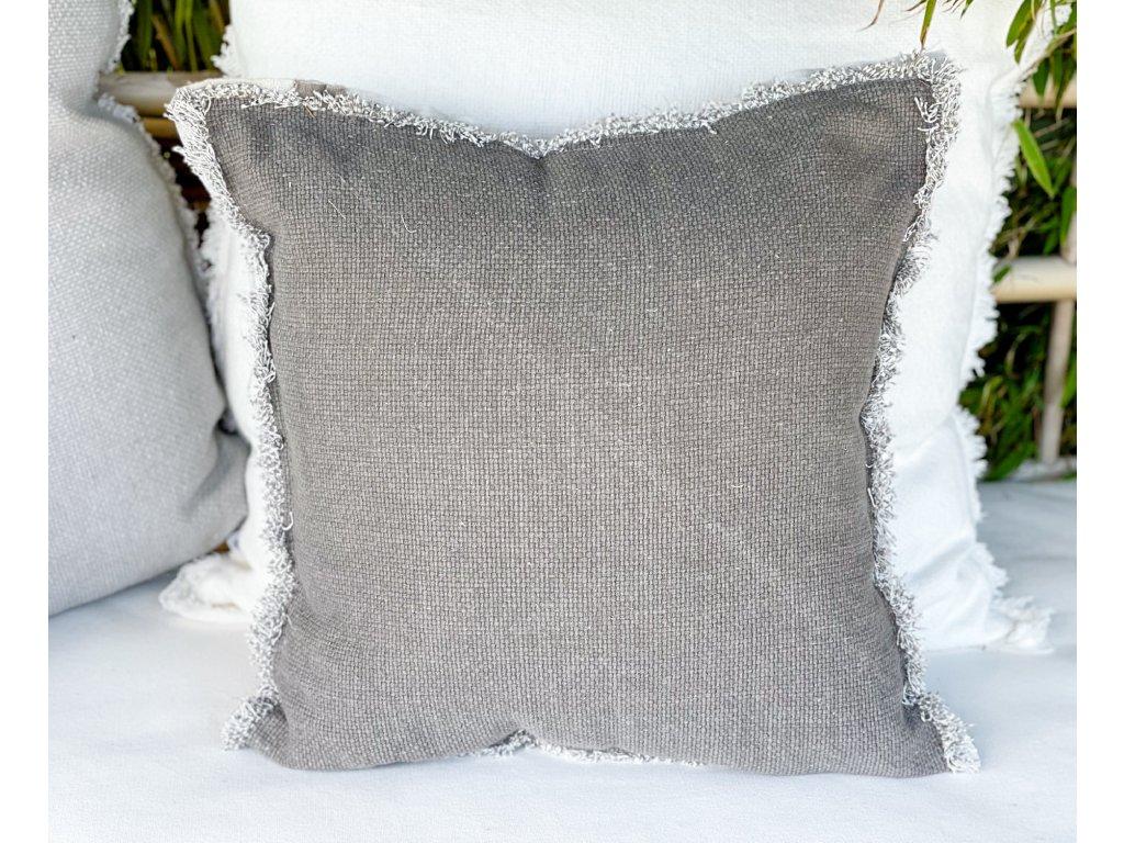Polštář tkaný s otřepeným okrajem/šedo hnědý