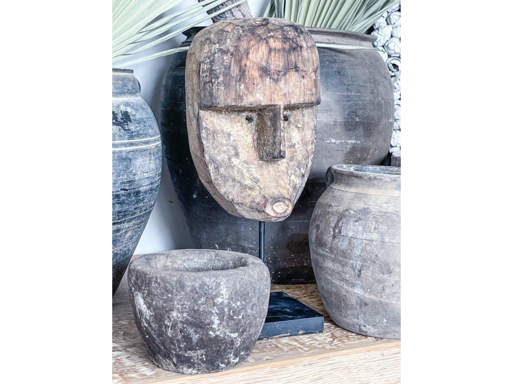 Socha hlavy/ dřevo patina