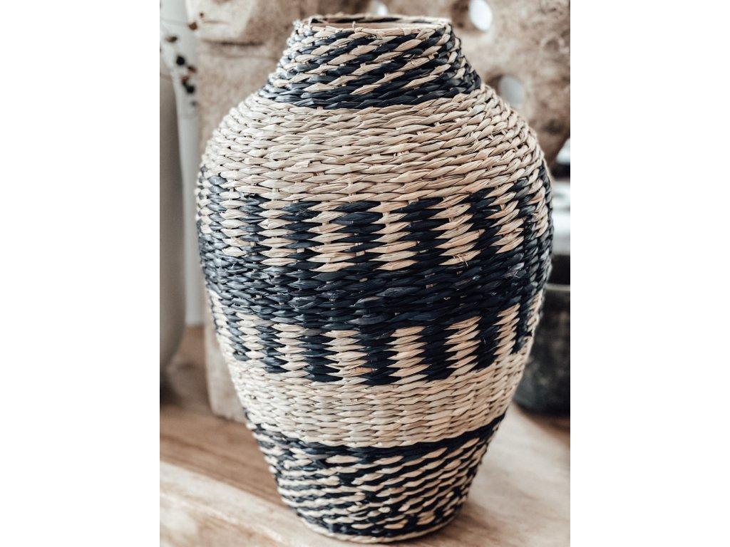 Váza z mořské trávy /černo-přírodní