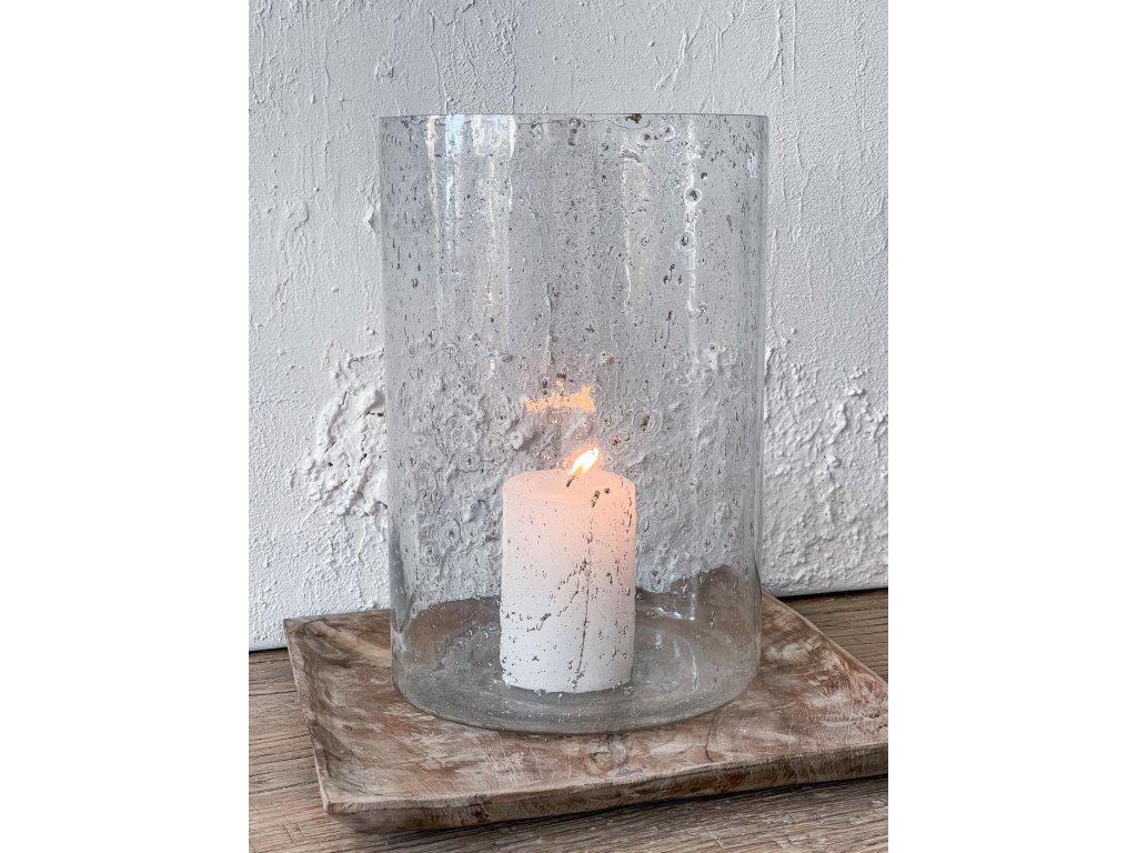 Svícen ze skla/stará patina