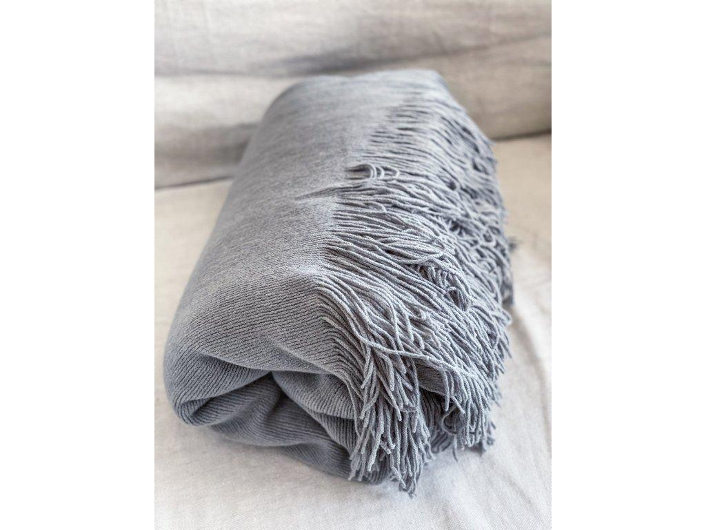 Velký řehoz na postel/ šedý úplet