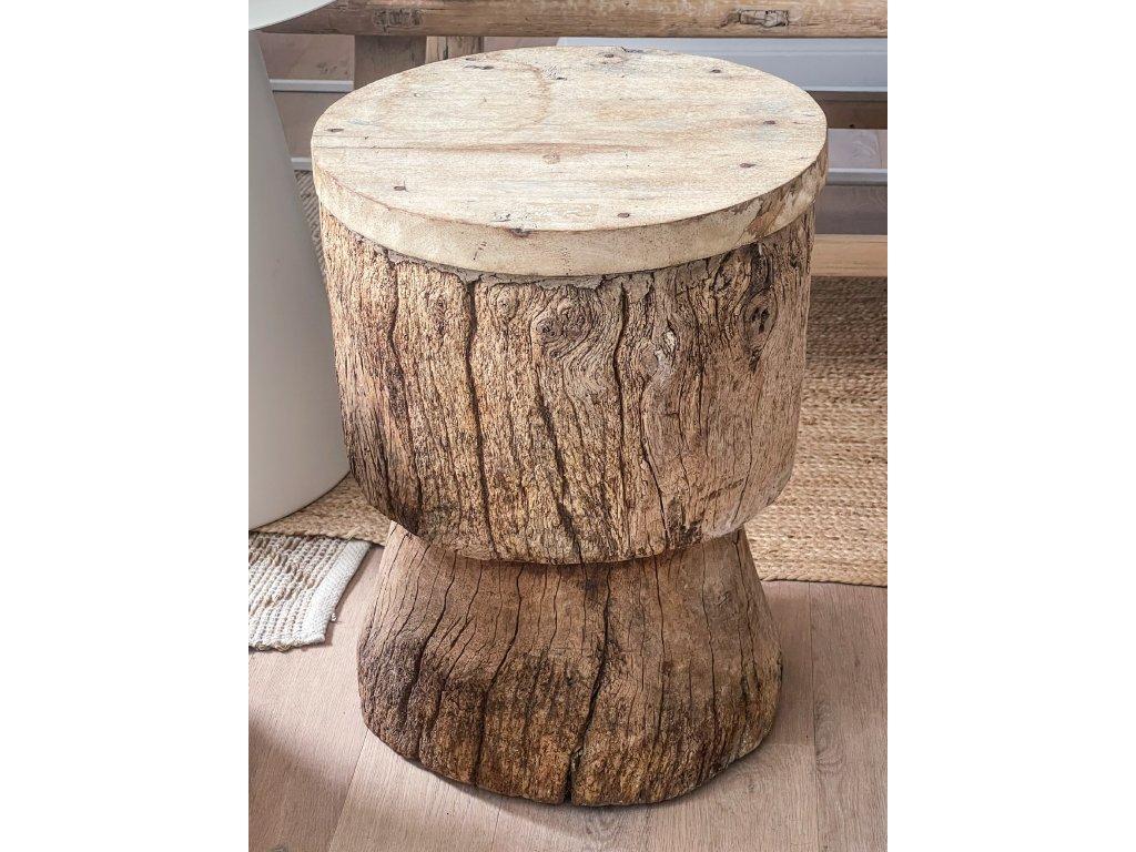 Stolek - taburet ze starého jilmového dřeva