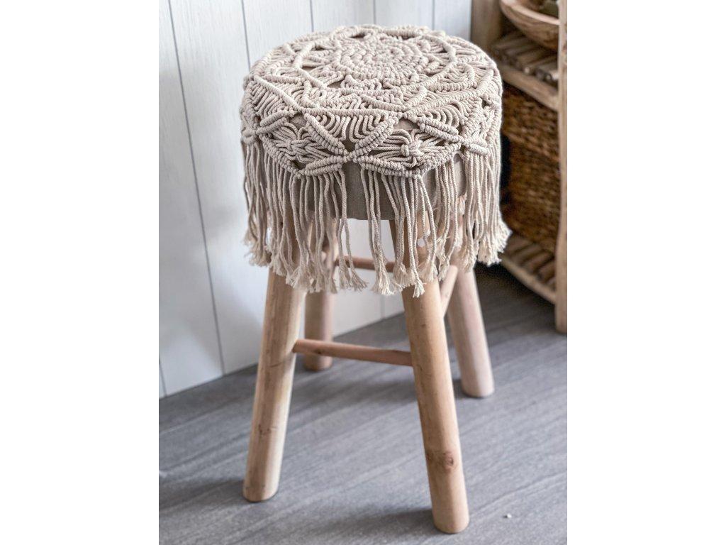 Stolička - taburet - macrame