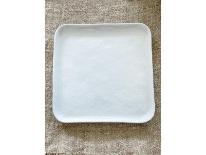 Hranatý talíř - dezertní - bílý