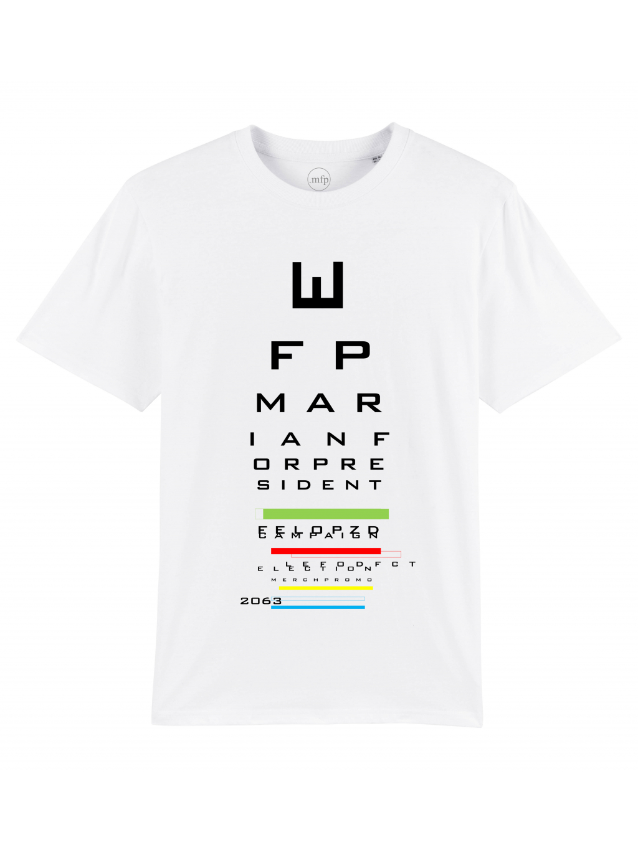 tričko s potiskem snellen white front