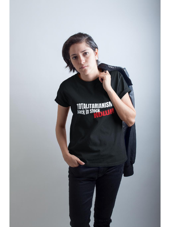tričko s potiskem back in stock black černé mfp 01