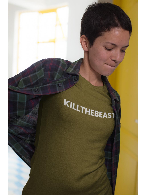 tričko s potiskem kill the beast khaki unisex foto2 1