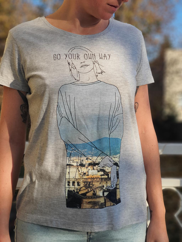 marian for president vintage second hand upcycling tričko s potiskem own way