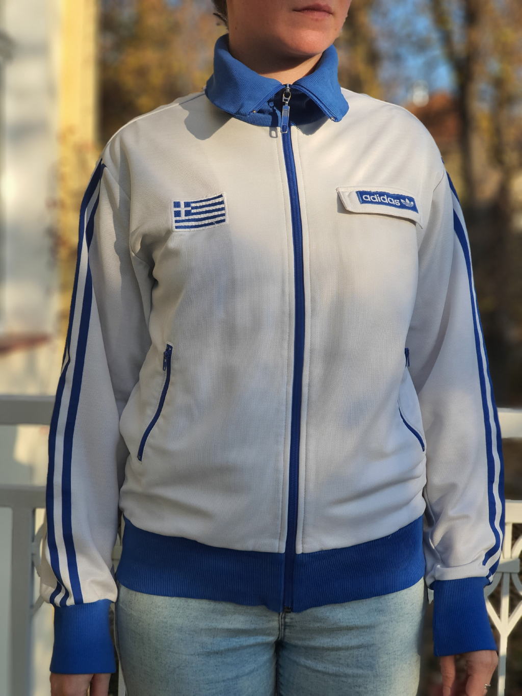 marian for president vintage second hand upcycling mikina adidas white blue