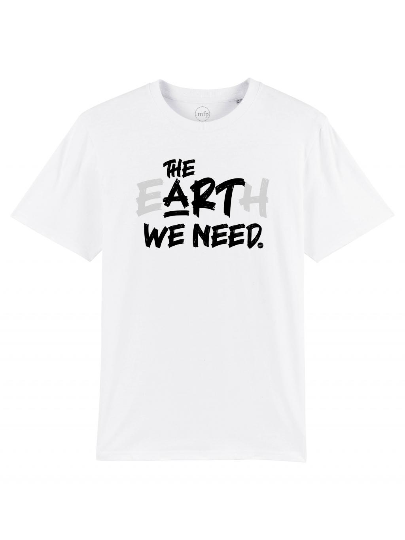 tričko s potiskem the earth we need white bílé front hruď