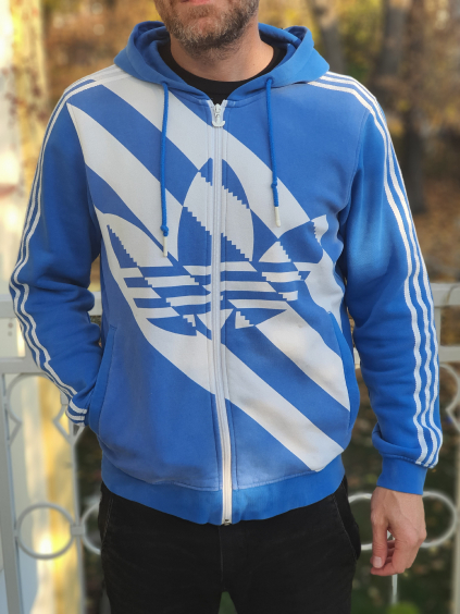 marian for president vintage second hand upcycling mikina adidas blue white