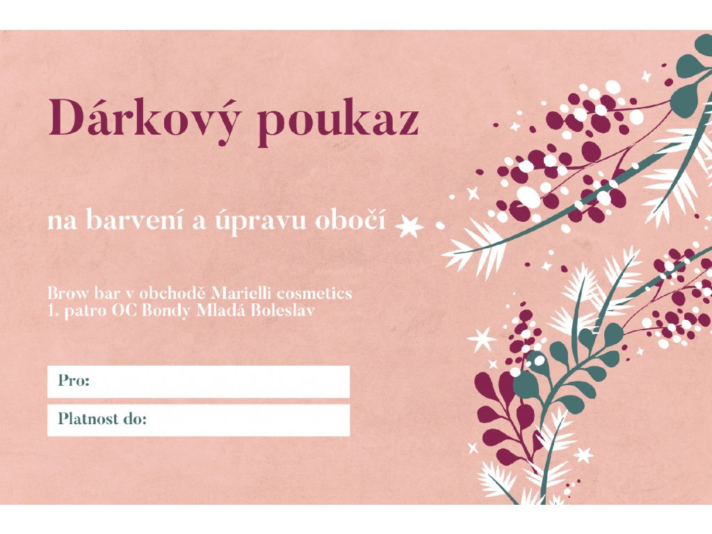 Pink Foliage Sophisticated Personal Christmas Gift Certificate
