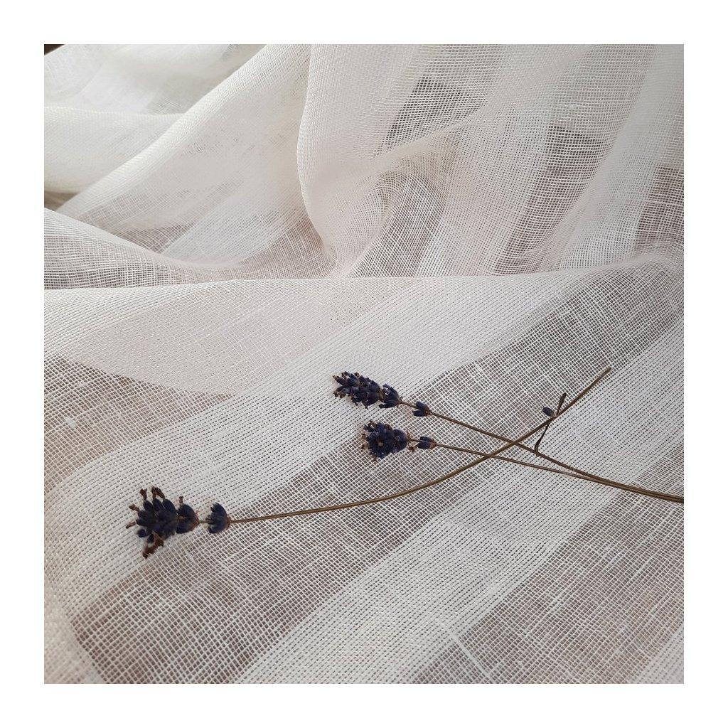100% len OPTICAL white stripes 100g/m2