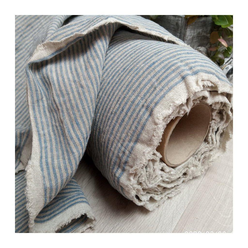 100% len BLUE/NATURAL stripes 205g/m2