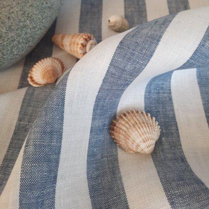 100% len SEA BLUE/WHITE stripes 190g/m2