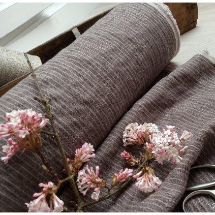 100% len stripes SMOKY BROWN/WHITE 205 g/m2