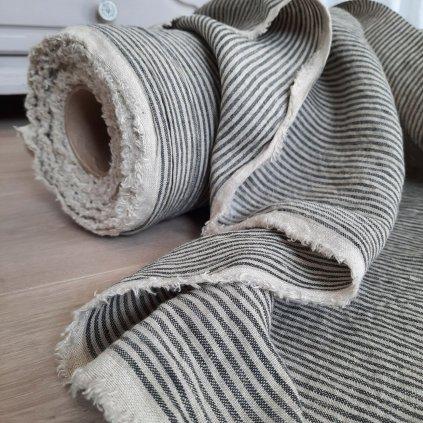 100% len GREY/NATURAL stripes 205g/m2