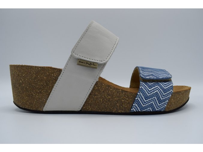 Dámský pantofel Vanesa bílá, modré vlnky