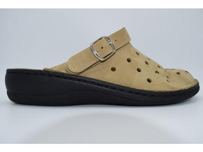 Dámský pantofel Nabuk Beige 8767C