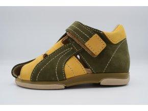 Dětský sandál D08002 žlutá-oliva