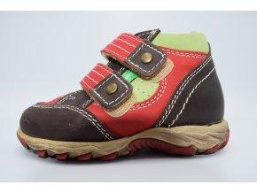 Dětská kotníková obuv 08051 červená - zelená