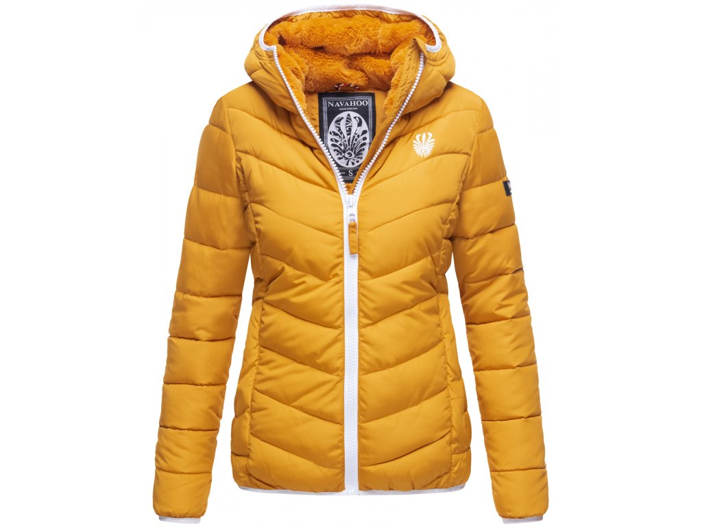 Dámska zimná bunda s kapucňou ELVA N-W-165 Navahoo - YELLOW