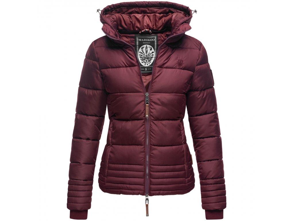 Dámska zimná prešívaná bunda s kapucňou SOLE Marikoo - WINE