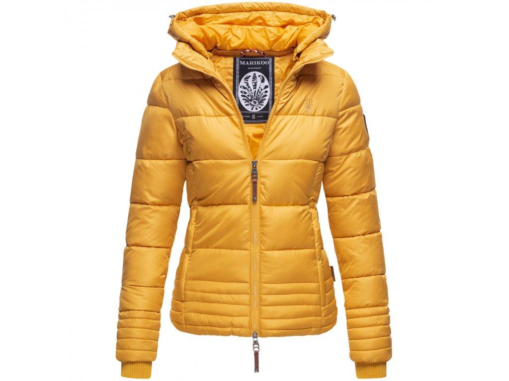 Dámska zimná prešívaná bunda s kapucňou SOLE Marikoo - YELLOW