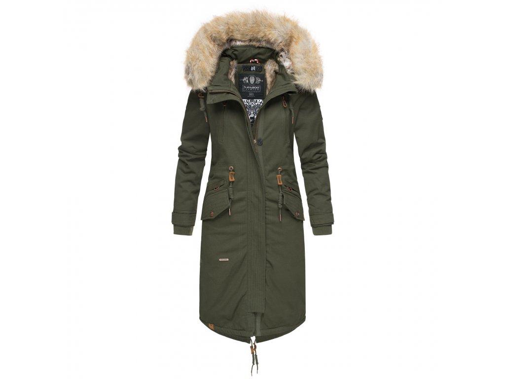 Dámsky zimný kabát s kapucňou Kin-joo Navahoo - OLIVE