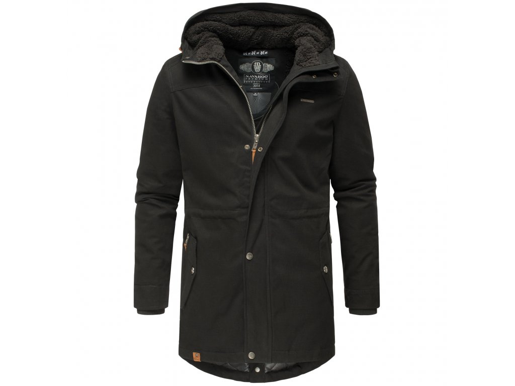 Zimný kabát / pánska zimná dlhá bunda Manakaa Marikoo - BLACK