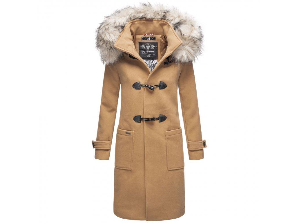 Štýlový dámsky kabát zimné Oksana Navahoo - CAMEL