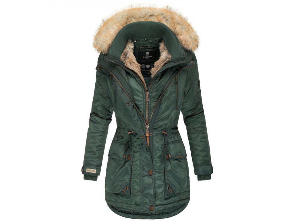 Dámska zimná bunda s kapucňou Grinsekatze Marikoo - GREEN