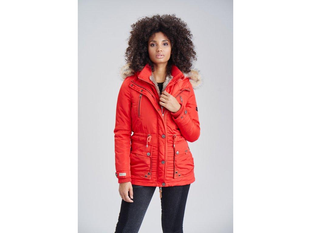 Dámska zimná bunda s kapucňou Grinsekatze Marikoo - RED