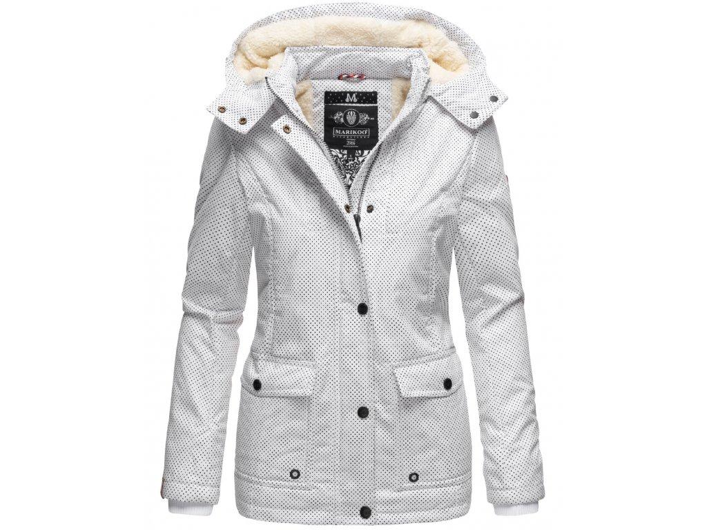 Dámska zimná bunda s kapucňou Keikoo MP Marikoo s bodkami 2019  WHITE