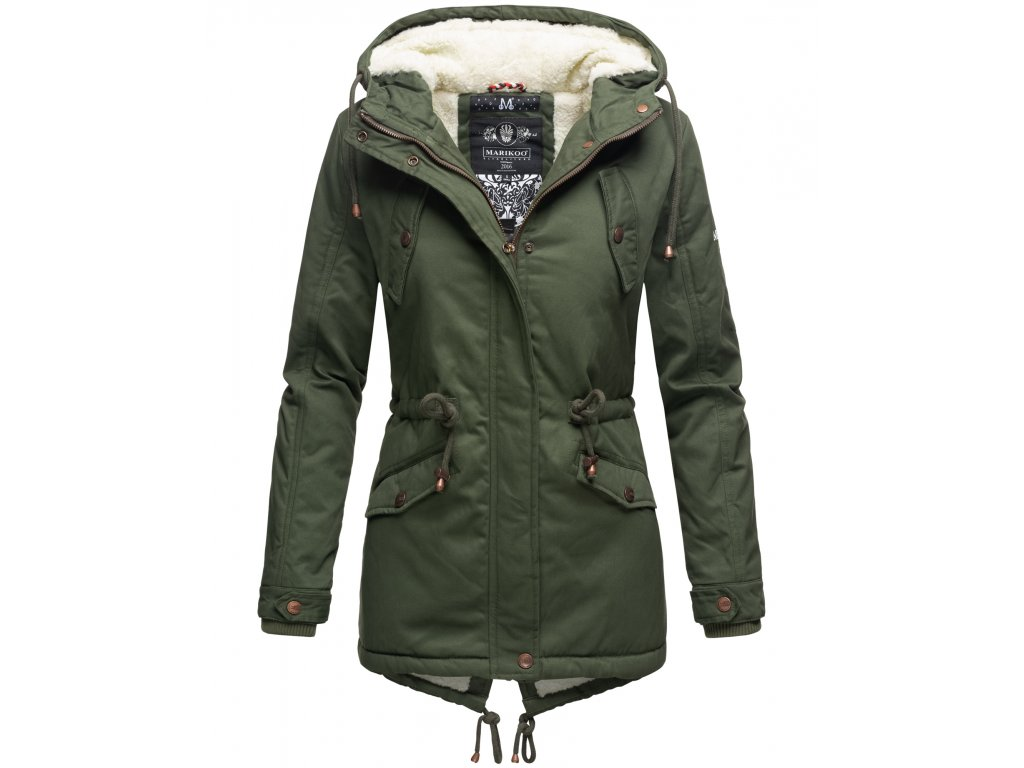 Zimná bunda s kapucňou a kožušinkou Manolya Marikoo - FOREST GREEN