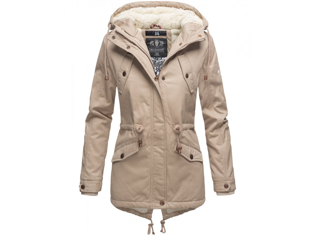 Zimná bunda s kapucňou a kožušinkou Manolya Marikoo - TAUPE